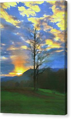 Gatlinburg Tennessee Canvas Print - Country Sunset On Wood by Dan Sproul