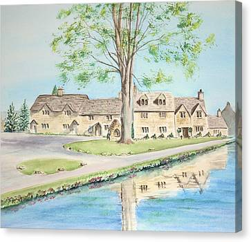 Canvas Print featuring the painting Countryside Cottages by Elizabeth Lock
