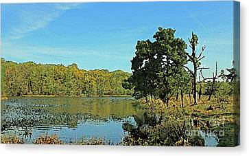 Countryside Netherlands, Lakes, Meadows, Trees, Digital Art. Canvas Print