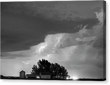 County Line Northern Colorado Lightning Storm Bw Canvas Print