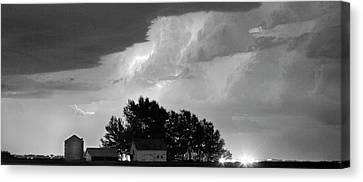 County Line Northern Colorado Lightning Storm Bw Pano Canvas Print