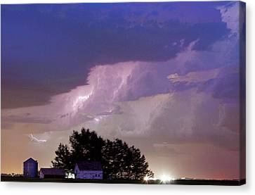 County Line Northern Colorado Lightning Storm Cropped Canvas Print