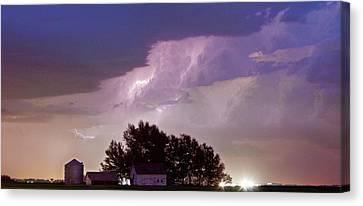 County Line Northern Colorado Lightning Storm Panorama Canvas Print