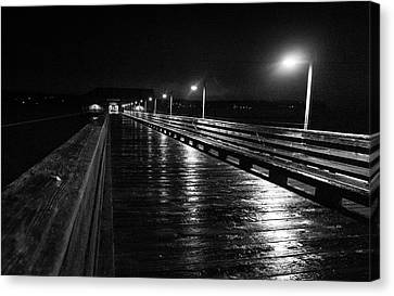 Coupeville Wharf On A Rainy Night Canvas Print by Mary Lee Dereske