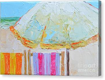 Beach Chairs Under White Umbrella - Modern Impressionist Knife Palette Oil Painting Canvas Print
