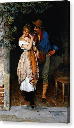 Couple Courting Canvas Print by Eugen von Blaas