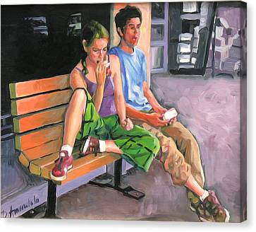 Couple Eating A Snack Canvas Print by Dominique Amendola