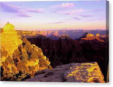 Couple Enjoys Grand Canyon Sunset Canvas Print by Alan Lenk