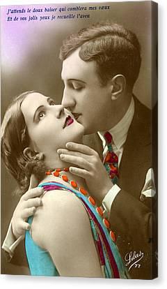 Couple Kissing Canvas Print