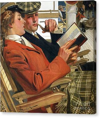 Collier Canvas Print - Couple On Deckchairs by MotionAge Designs