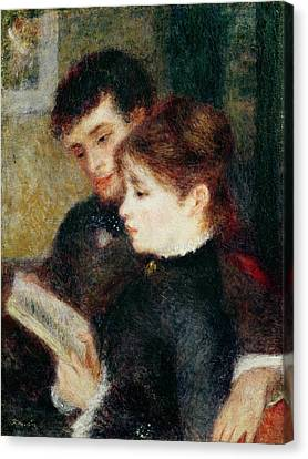 Couple Reading Canvas Print by Pierre Auguste Renoir