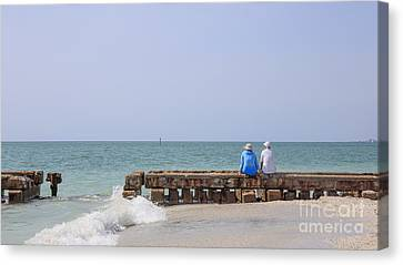 Couple Sitting On An Old Jetty Siesta Key Beach Florida Canvas Print by Edward Fielding