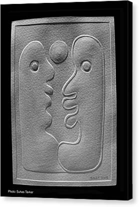 Canvas Print featuring the relief Couple by Suhas Tavkar