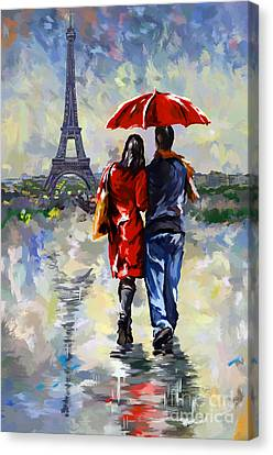 couple walking in the rain Paris Canvas Print