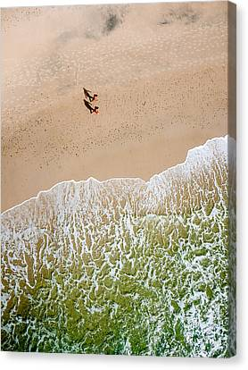 Aerial View Canvas Print - Couple Walking On Tallow Beach by Rob Huntley