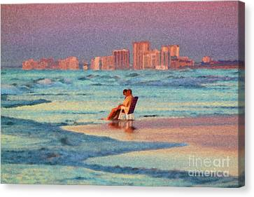 Couple Watching The Sunset Canvas Print by Jeff Breiman