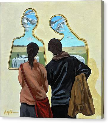 Canvas Print -  Couple With Their Heads Full Of Clouds by Linda Apple