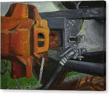 Coupler On Train Canvas Print by Martha Ressler