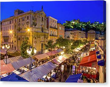 Cours Saleya Canvas Print - Cours Saleya In Nice by Werner Dieterich
