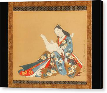 Courtesan Writing A Letter Canvas Print by Kaigetsudo