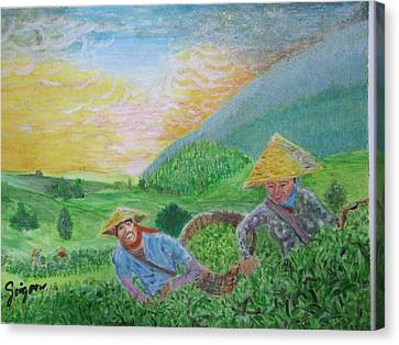 Courtship At The Tea-farm Canvas Print by SAIGON De Manila
