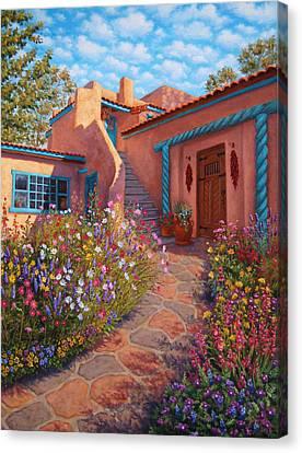 Pueblo Canvas Print - Courtyard Garden In Taos by Johanna Girard