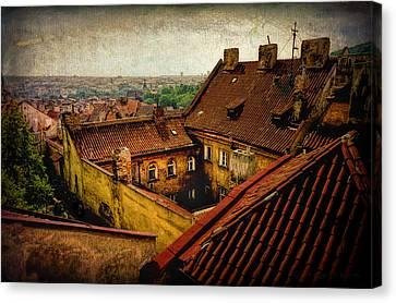 Courtyard In Prague Canvas Print by Robert Meyerson
