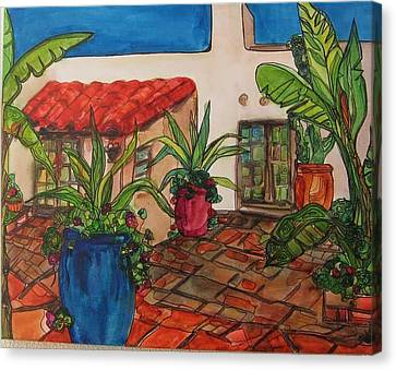 Courtyard In Rancho Santa Fe Canvas Print by Michelle Gonzalez