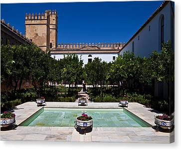 Courtyard In The Castle, Alcazar De Los Canvas Print by Panoramic Images