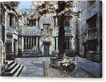 Canvas Print featuring the digital art Courtyard Of Skipton Castle by Pennie McCracken