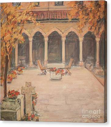 Courtyard Of Stravopoleos Church Canvas Print