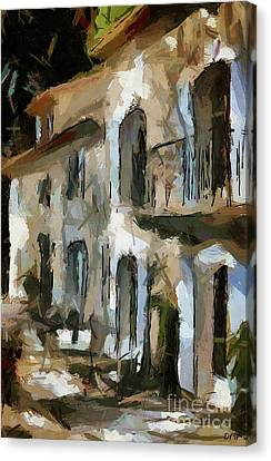 Courtyard Provence Canvas Print by Dragica Micki Fortuna
