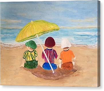 Cousins At The Beach Canvas Print by Anne Sands