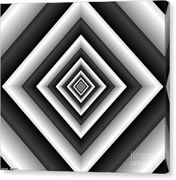 Covariance  6 Modern Geometric Black White Canvas Print by TJ Art