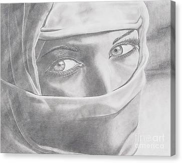 Canvas Print featuring the drawing Covered Beauty by Wil Golden