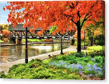Canvas Print featuring the painting Covered Bridge Along Riverwalk by Christopher Arndt
