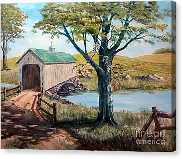 Covered Bridge, Americana, Folk Art Canvas Print by Lee Piper