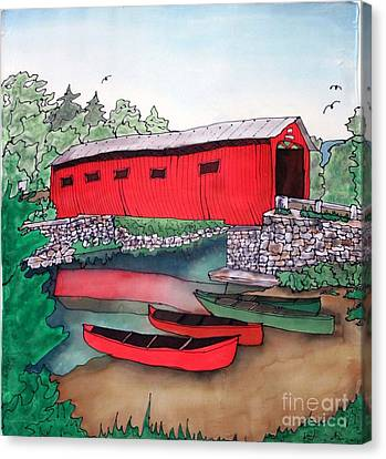 Covered Bridge And Canoes Canvas Print by Linda Marcille