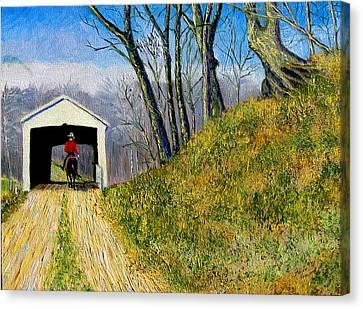 Covered Bridge And Cowboy Canvas Print by Stan Hamilton