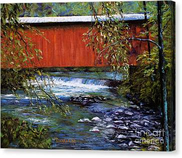 Covered Bridge And  Wissahickon Creek Canvas Print by Joyce A Guariglia