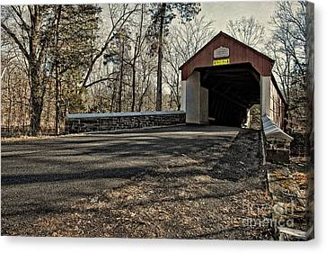 Old Country Roads Canvas Print - Covered Bridge At Stover Mill by Tom Gari Gallery-Three-Photography