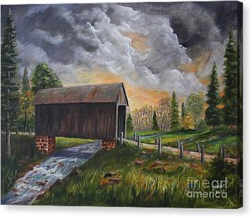 Covered Bridge At Sunset Canvas Print by Marlene Kinser Bell