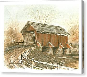 Covered Bridge Canvas Print by Charles Roy Smith