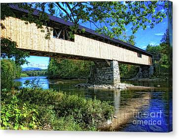 Canvas Print featuring the photograph Covered Bridge by Gina Cormier