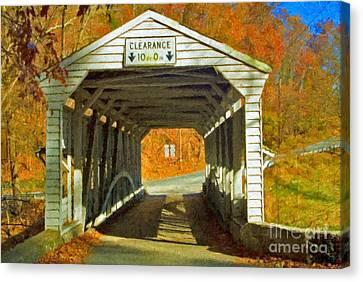 Canvas Print featuring the photograph Covered Bridge Impasto Oil by David Zanzinger