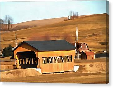 Covered Bridge In Amish Country Ohio Canvas Print by Dan Sproul