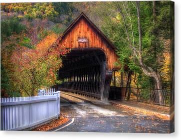 Covered Bridge In Autumn - Woodstock Vermont Canvas Print by Joann Vitali