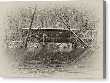 Covered Bridge In Black And White Canvas Print by Bill Cannon
