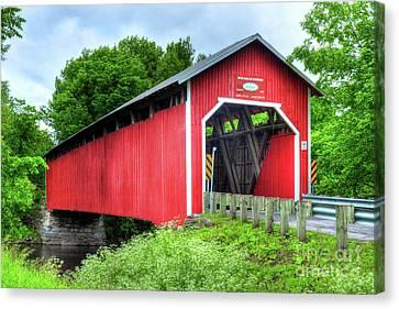 Covered Bridge In Canada Canvas Print by Mel Steinhauer