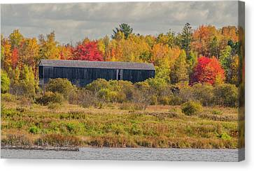 Covered Bridge In Foliage Canvas Print by Roger Lewis